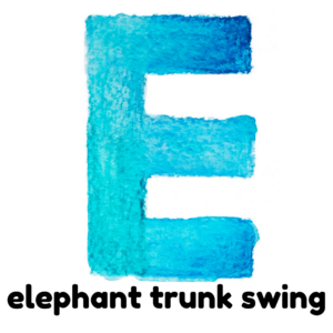 E is for elephant trunk swing gross motor activity part of an abc exercise for kids