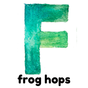 F is for frog jumps gross motor activity part of an abc exercise for kids