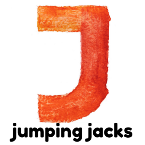 J is for jumping jacks gross motor activity part of an abc exercise for kids