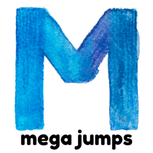 M is for mega jumps gross motor activity part of an abc exercise for kids