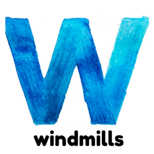 W is for windmills gross motor activity part of an abc exercise for kids