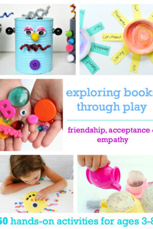 Exploring Books through Play helps kids develop fine motor skills and gross motor skills while learning about empathy and compassion.