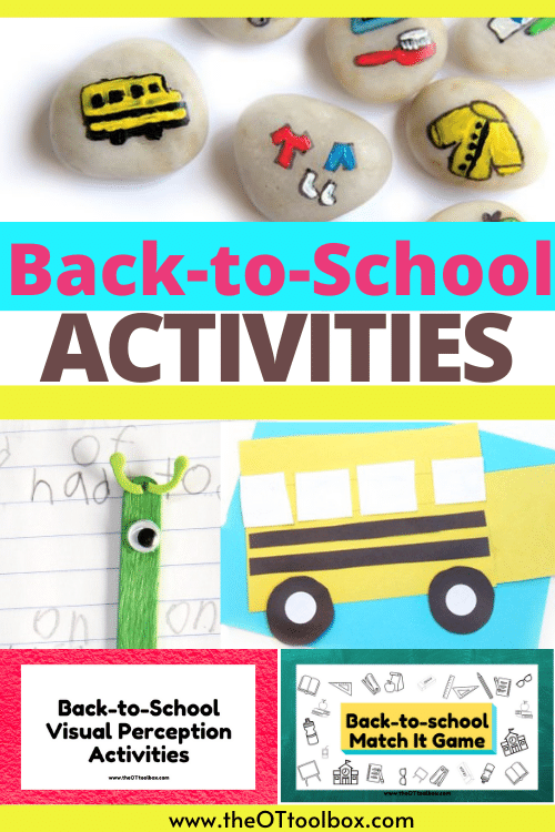 These back to school activities can be used in weekly theme planning for occupational therapy activities.