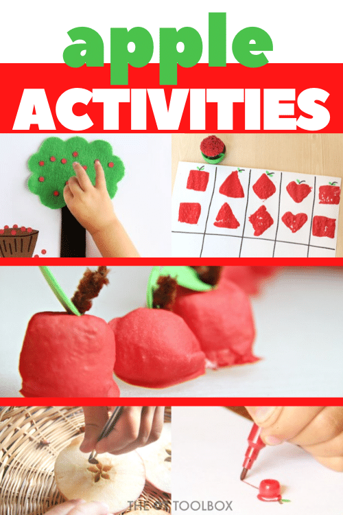 Use these apple activities for an apple weekly theme in therapy or learning.