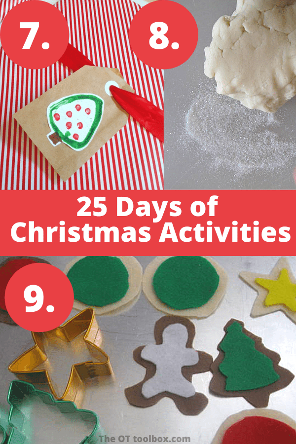 Christmas ideas for kids to use for 25 days of Christmas play including holiday play dough, felt cookies and more.