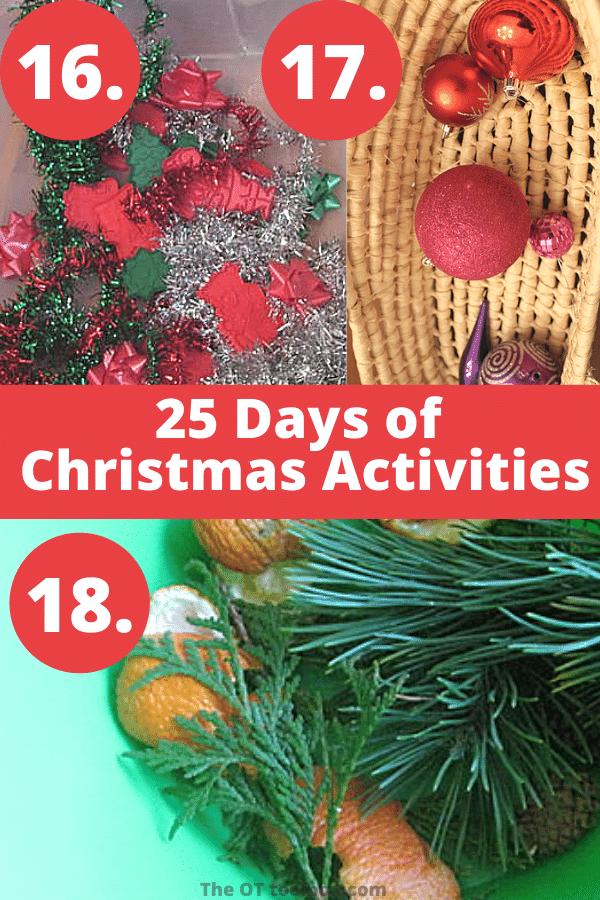 Holiday and Christmas sensory bins and Christmas sensory play ideas