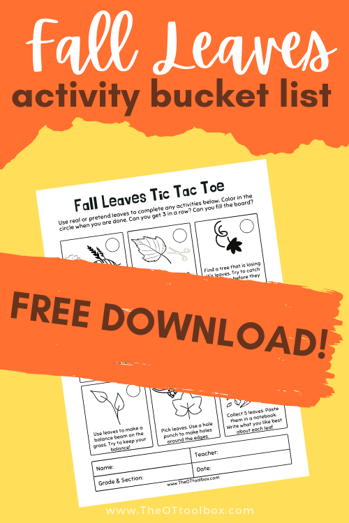 Fall Leaves Activities for a fall bucket list that builds skills! This fall leaves printable is a downloadable tic tac toe game that kids can use in occupational therapy activities.
