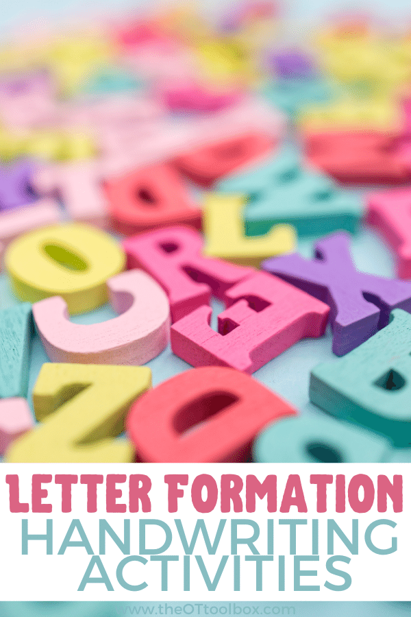 Letter formation activities for occupational therapy activities and pediatric OT interventions.