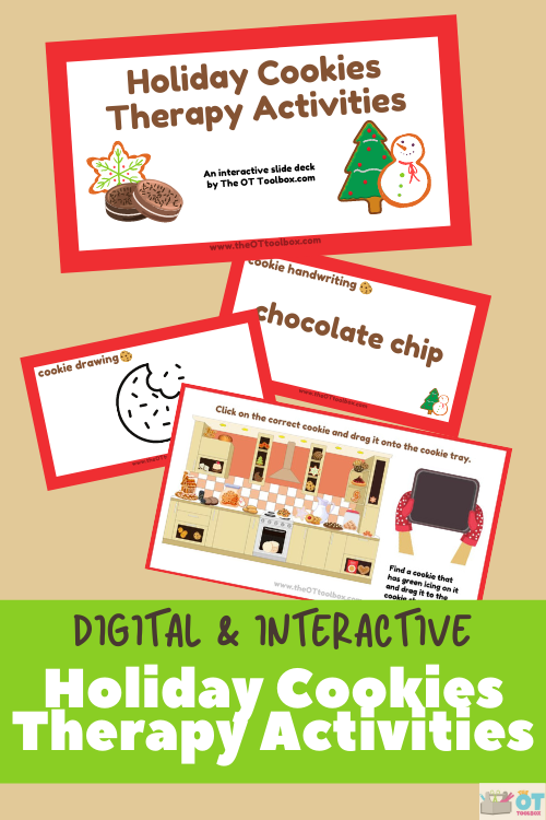 use this holiday cookies activities for therapy planning using a cookie theme in teletherapy.