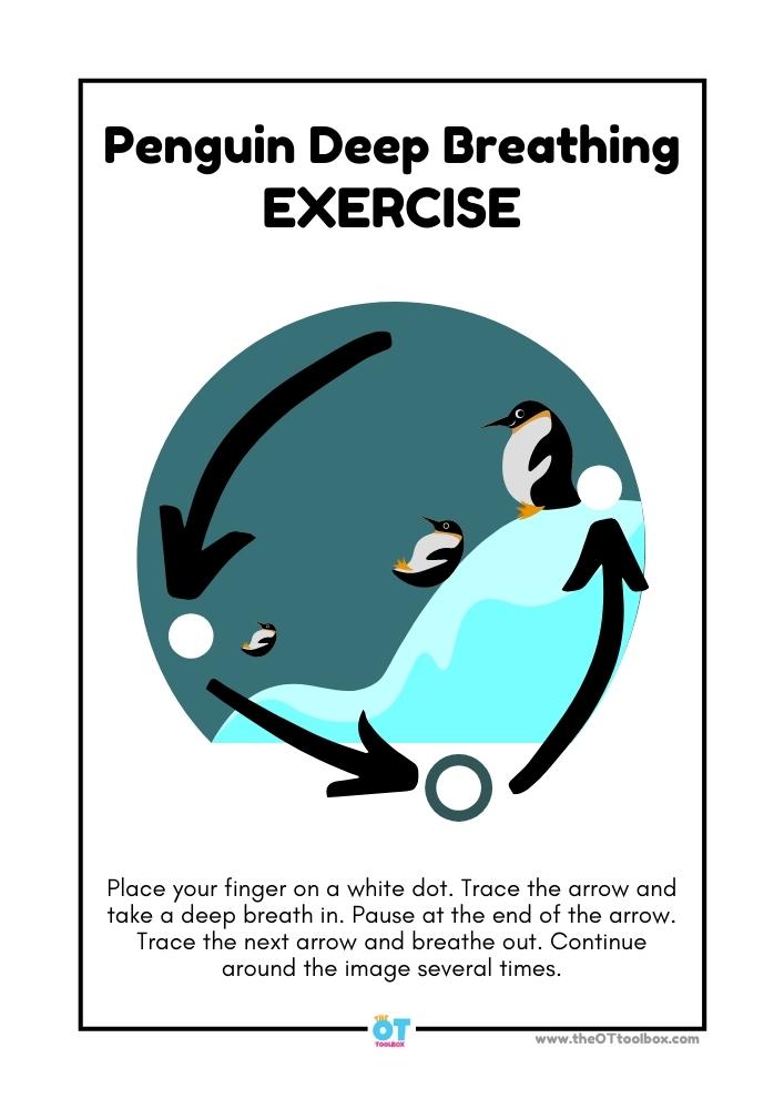 Penguin deep breathing exercise for self-regulation or coping skills in kids.