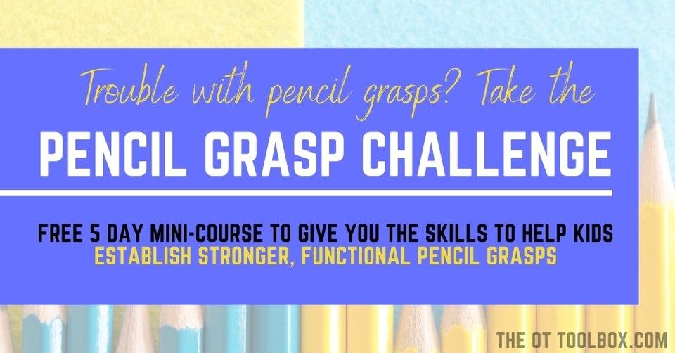 Pencil grasp challenge to help kids improve their pencil grasp.
