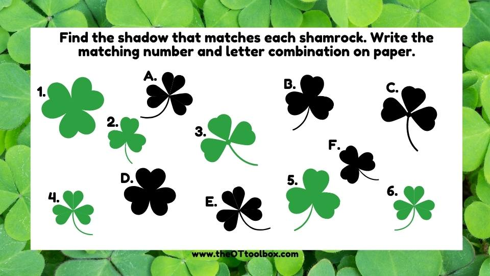 Shamrock vision therapy exercise for visual discrimination