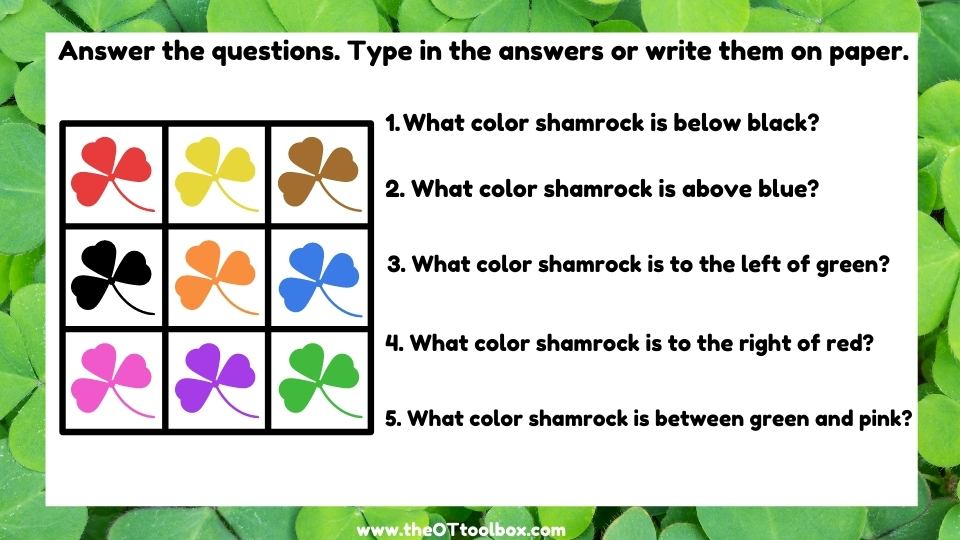 Shamrock activity to work on working memory, spatial relations, and directionality