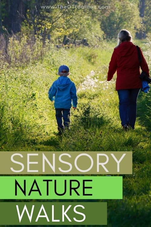 Nature walk ideas for sensory based family walks.