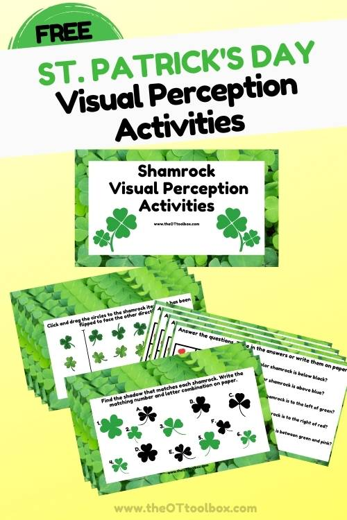 Shamrock theme visual perception activities for vision therapy or OT teletherapy activities.