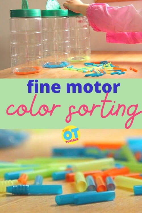 Color sorting activity with straws