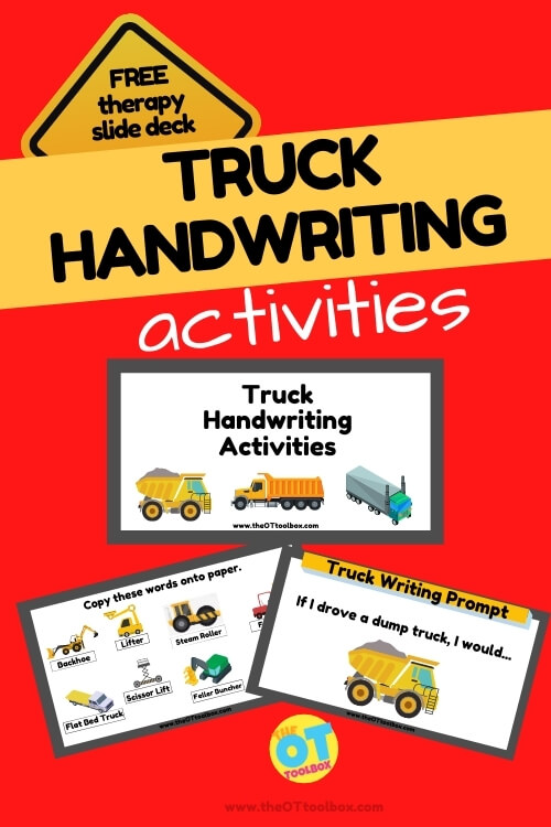 Truck handwriting activities and truck writing prompts in a free therapy slide deck for teaching handwriting virtually.