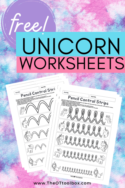 Free unicorn worksheets to work on pencil grasp