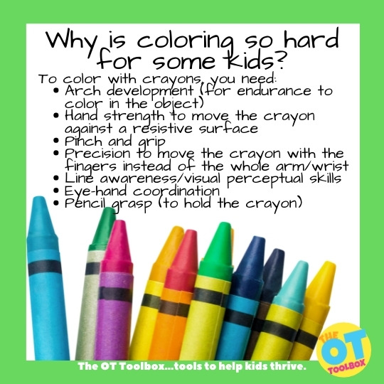 Coloring is hard for kids for many reasons. Here are underlying skills needed for coloring.